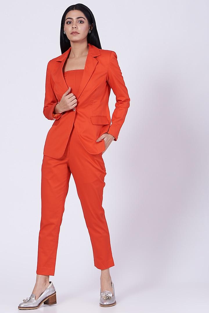 Orange Cotton Satin Lycra Blazer by Three Piece Company