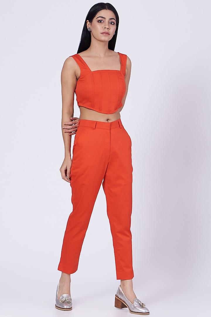 Orange Cotton Twill Lycra Pants by Three Piece Company