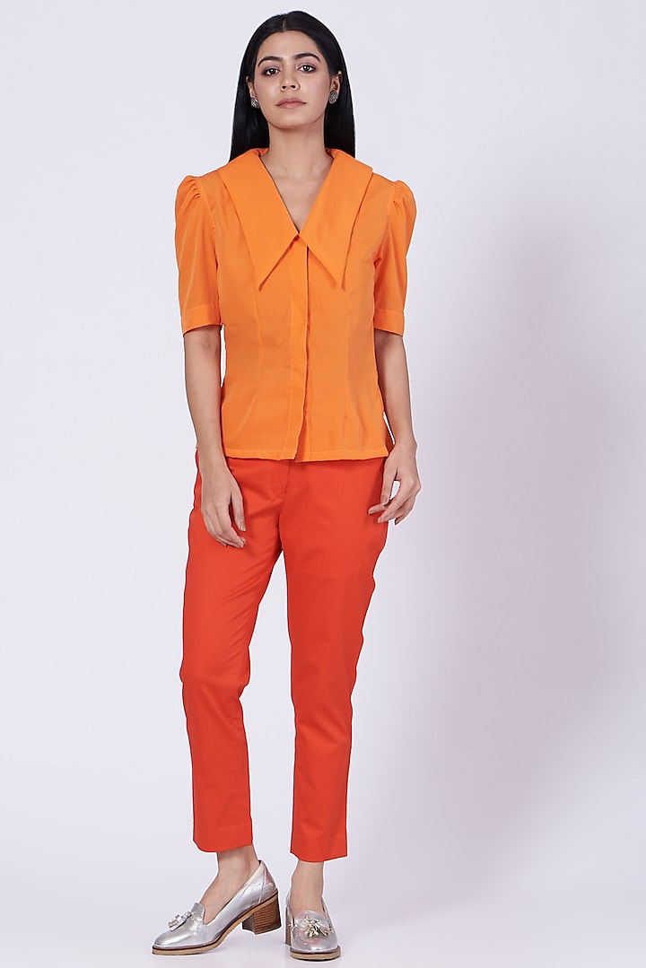 Orange Poly Crepe Shirt by Three Piece Company