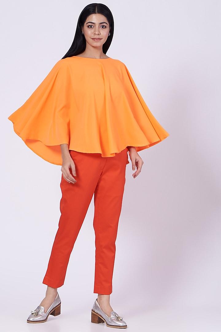 Orange Poly Crepe Poncho Top by Three Piece Company