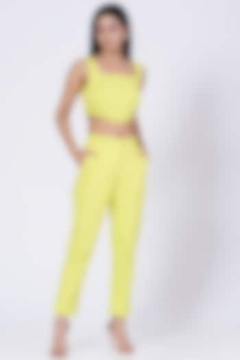 Yellow Cotton Twill Lycra Pants by Three Piece Company