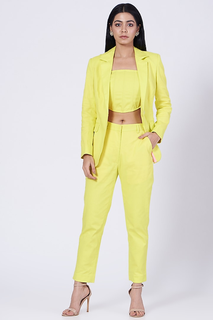 Yellow Cotton Twill Lycra Blazer by Three Piece Company
