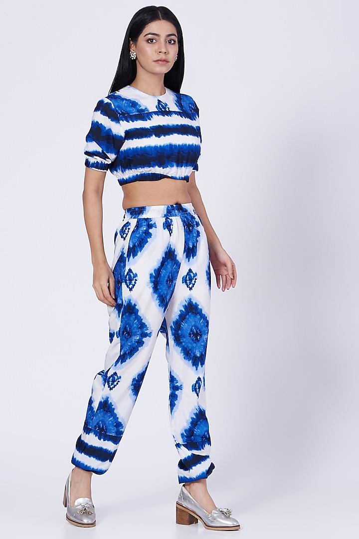 White & Blue Tie-Dye Lounge Pants   by Three Piece Company