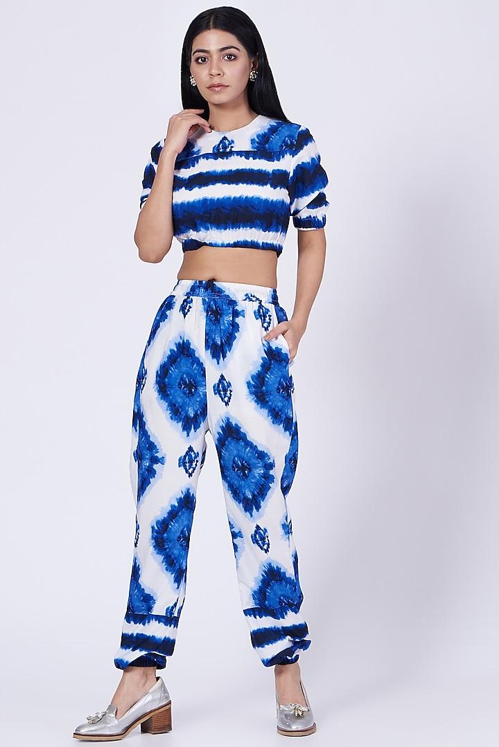 White & Blue Tie-Dye Lounge Crop Top  by Three Piece Company