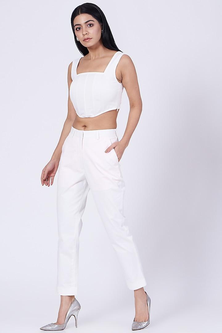 White Cotton Satin Lycra Pants by Three Piece Company