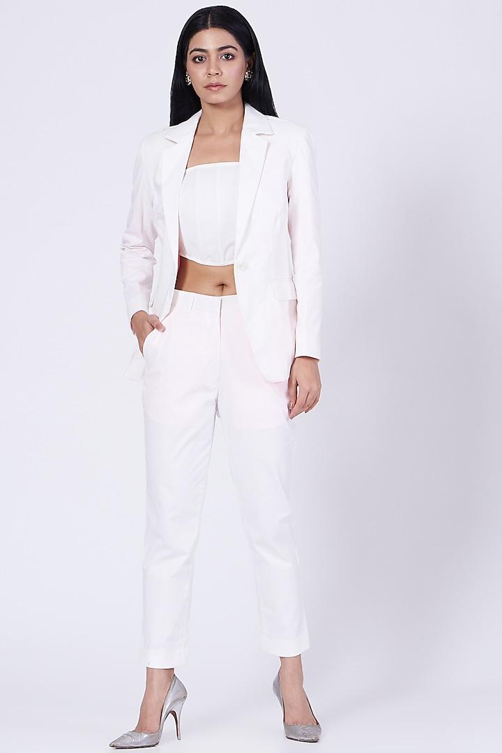 White Cotton Satin Lycra Blazer by Three Piece Company