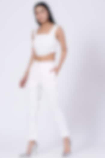 White Cotton Satin Lycra Corset Crop Top by Three Piece Company