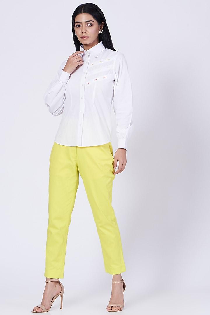 White Cotton Shirt by Three Piece Company