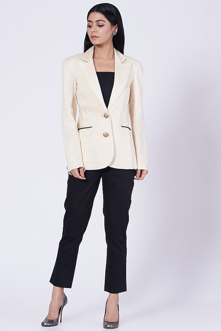 White Blazer With Faux Leather Buttons by Three Piece Company