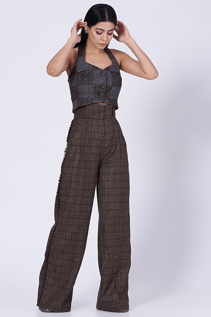 Brown Tweed Flared Pants by Three Piece Company
