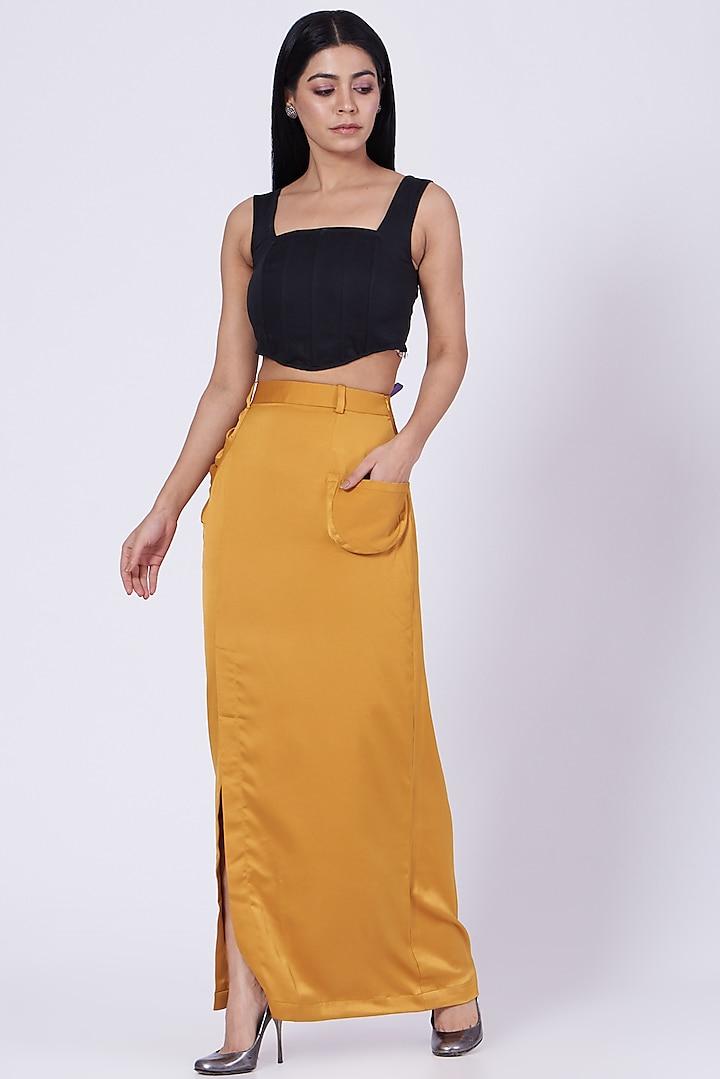 Ochre Satin Crepe Gathered Skirt by Three Piece Company