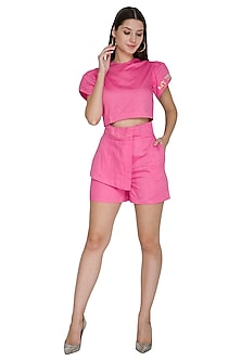 Pink Embroidered Shorts With Paper-Bag Waist by Three Piece Company