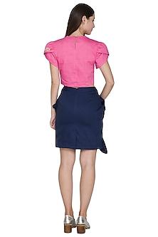 Midnight Blue Ruffled Skirt by Three Piece Company