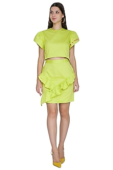Lime Green Petal Sleeved Embroidered Crop Top by Three Piece Company