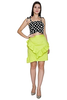 Lime Green Ruffled Skirt by Three Piece Company