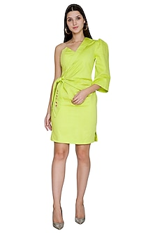 Lime Green Asymmetrical Embroidered Dress by Three Piece Company