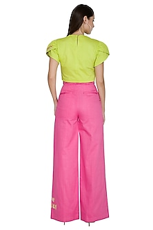 Pink High Waisted Pants With Tie-Up Belt by Three Piece Company