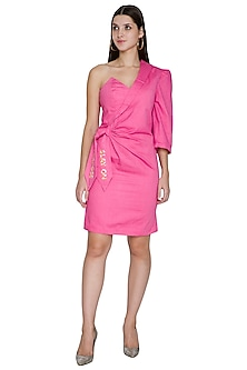 Pink Asymmetrical Embroidered Dress by Three Piece Company