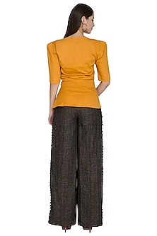 Ochre Yellow Embellished Waist Slit Top by Three Piece Company
