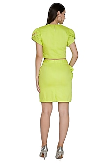 Lime Green Petal Sleeved Crop Top by Three Piece Company