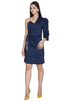 Midnight Blue Asymmetrical Embroidered Dress by Three Piece Company