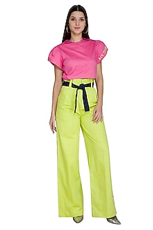 Lime Green High Waisted Pants With Tie-Up Belt by Three Piece Company