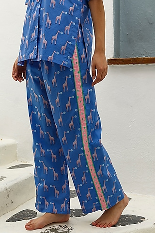 Blue Printed Cotton Pajama Pants by The Pink Elephant