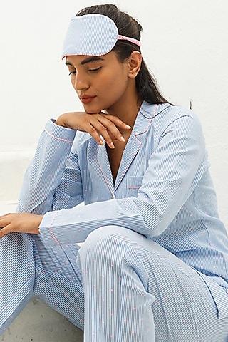 Blue Striped Pajama Pants by The Pink Elephant