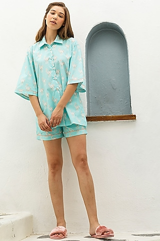 Blue Printed Shirt by The Pink Elephant