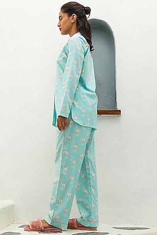 Blue Printed Pajama Pants by The Pink Elephant