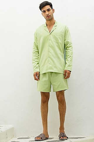 Mint Green Cotton Lounge Shirt by The Pink Elephant