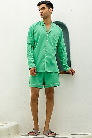 Green Cotton Lounge Shirt by The Pink Elephant