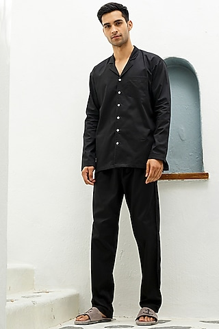 Black Cotton Lounge Shirt by The Pink Elephant