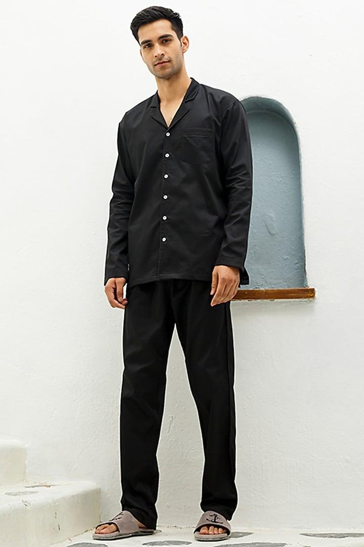 Black Cotton Lounge Pyjama Pants by The Pink Elephant