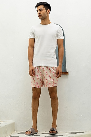 Peach Printed Lounge Shorts by The Pink Elephant