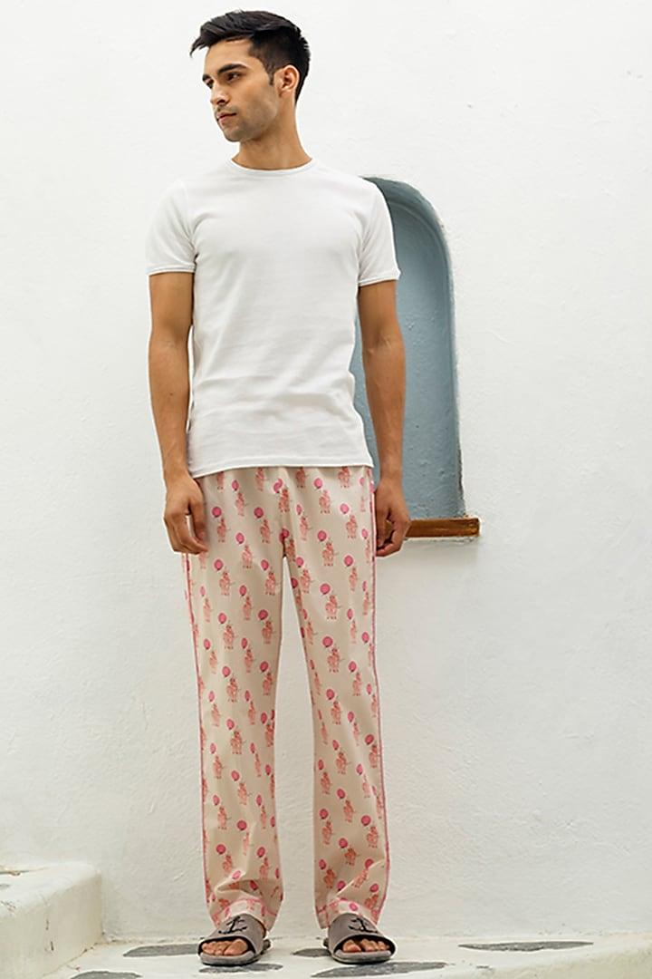 Peach Printed Lounge Pyjama Pants by The Pink Elephant
