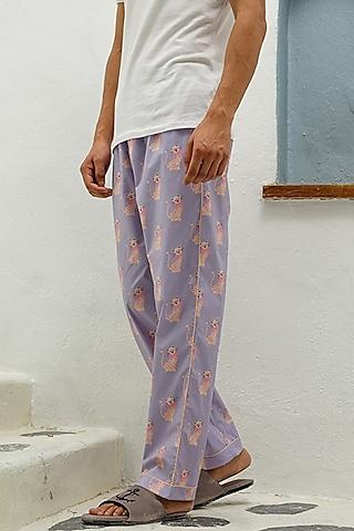 Purple Cotton Printed Lounge Pyjama Pants by The Pink Elephant