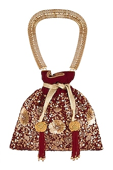 Maroon Embroidered Potli Bag by The Pink Potli