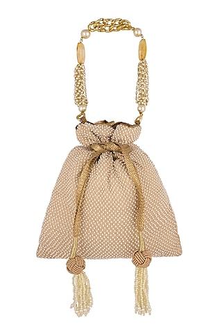 Light Beige Embroidered Potli Bag by The Pink Potli