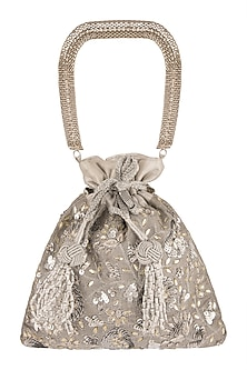 Silver Embroidered Potli Bag by The Pink Potli