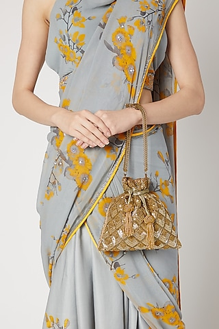 Gold Hand Embroidered Potli Bag by The Pink Potli