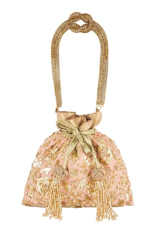 Gold Embroidered Raw Silk Potli Bag by The Pink Potli