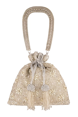 Silver Hand Embroidered Potli Bag by The Pink Potli