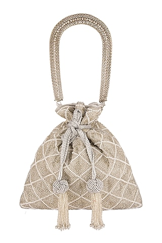 Silver Pearl Embroidered Potli Bag by The Pink Potli