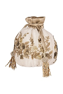 White Embroidered Potli Bag by The Pink Potli