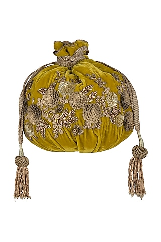 Mustard Embroidered Potli Bag by The Pink Potli