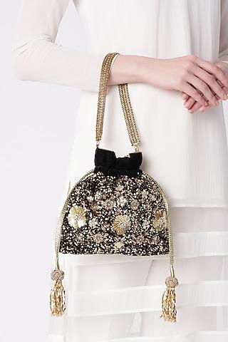 Black Embroidered Potli Bag by The Pink Potli
