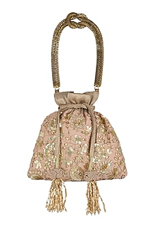 Peach Embroidered Potli Bag by The Pink Potli-Shop By Style