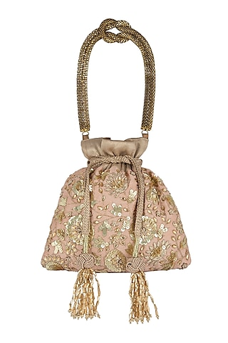 Peach Embroidered Potli Bag by The Pink Potli