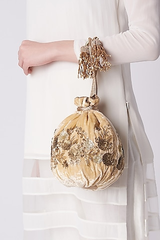 Gold Embroidered Potli Bag by The Pink Potli